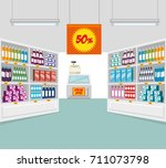 supermarket store consumerism... | Shutterstock .eps vector #711073798