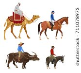 set of riders on different... | Shutterstock .eps vector #711078973