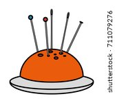 sewing pincushion isolated icon   Shutterstock .eps vector #711079276