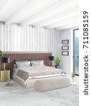 vertical bedroom minimal or... | Shutterstock . vector #711085159