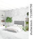 vertical bedroom minimal or...   Shutterstock . vector #711085750