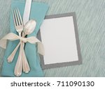 Teal Table Place Setting With...