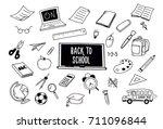 back to school doodles. vector... | Shutterstock .eps vector #711096844