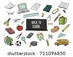 back to school doodles. vector... | Shutterstock .eps vector #711096850