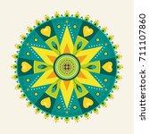 green flower mandala circle for ... | Shutterstock .eps vector #711107860