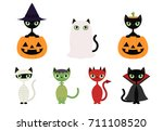 black cats in halloween costumes | Shutterstock .eps vector #711108520