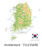 south korea physical map... | Shutterstock .eps vector #711115648