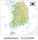 south korea physical map. on... | Shutterstock .eps vector #711115654
