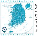 south korea road map and... | Shutterstock .eps vector #711115669