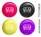 couch multi color glossy badge...