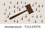crowd and gavel hammer symbol... | Shutterstock .eps vector #711119374