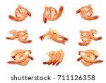 collection of steamed shrimp... | Shutterstock . vector #711126358