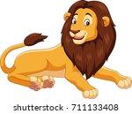 cartoon lion isolated on white... | Shutterstock .eps vector #711133408