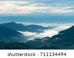 beautiful sea of fog at view... | Shutterstock . vector #711134494