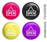 open multi color glossy badge...