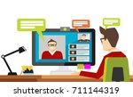 man blogger video computer.... | Shutterstock .eps vector #711144319