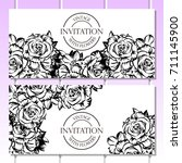 invitation with floral... | Shutterstock . vector #711145900
