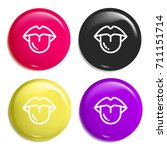 tongue multi color glossy badge ...