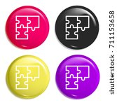 puzzle multi color glossy badge ...