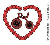 cute tricycle with heart | Shutterstock .eps vector #711154870