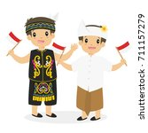 two happy boys in dayak and...   Shutterstock .eps vector #711157279