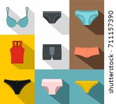 underwear icon set. flat style... | Shutterstock .eps vector #711157390