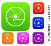 photographic lens set icon in... | Shutterstock .eps vector #711157858