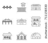 bridgework icons set. outline... | Shutterstock .eps vector #711158530