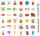 gallery icons set. cartoon... | Shutterstock .eps vector #711158758