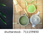 top view green tea leaf and... | Shutterstock . vector #711159850