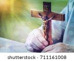 a man hands holding the...   Shutterstock . vector #711161008
