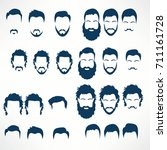 hipster vector set  hair and... | Shutterstock .eps vector #711161728