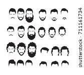hipster vector set  hair and... | Shutterstock .eps vector #711161734