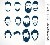 hipster vector set  hair and... | Shutterstock .eps vector #711161740