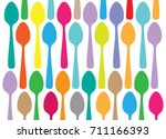 colorful spoons pattern on... | Shutterstock .eps vector #711166393