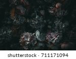 textile flowers in darkness | Shutterstock . vector #711171094