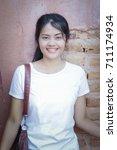 beautiful young woman portrait... | Shutterstock . vector #711174934