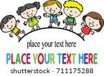 cartoon kids with border | Shutterstock .eps vector #711175288
