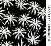 white  palm trees on the black... | Shutterstock .eps vector #711177364
