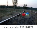 colorful balloons on a train...   Shutterstock . vector #711178729
