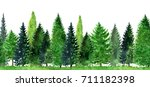watercolor landscape with fir... | Shutterstock . vector #711182398