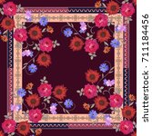 beautiful shawl with bouquets... | Shutterstock .eps vector #711184456