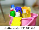 plastic pink bucket with... | Shutterstock . vector #711185548