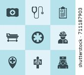 set of 9 clinic filled icons... | Shutterstock .eps vector #711187903