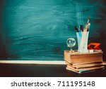 old blackboard with chalk ... | Shutterstock . vector #711195148