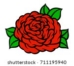 flower rose  red buds and green ... | Shutterstock .eps vector #711195940