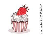 cute icon of the cupcake. made... | Shutterstock .eps vector #711196246