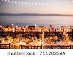 perfect wedding dinner  | Shutterstock . vector #711203269