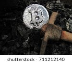 bitcoin mining. a mine with... | Shutterstock . vector #711212140