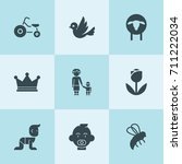 set of 9 cute filled icons such ... | Shutterstock .eps vector #711222034